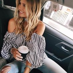Amazing off the shoulder stripe top featuring long sleeved detailing with choker. Looks chic paired with crop skinnies and a patent clutch! Polyester *Model is wearing size small *Runs true to size *Hand wash only
