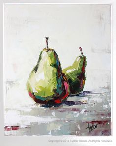 'Pears' from my still life series of fruits in oils on canvas using palette…