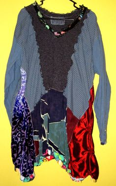 Creative Ruched Blue Sweater Tunic Recycled fits Lg by monapaints, $229.00