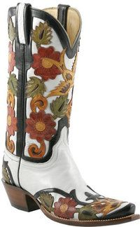 Lucchese Classics L4688 White Floral & Bird Filigree Hand Tooled Boot