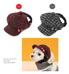 The only thing your dog will be hunting for is more treats in this cute little cap. The cute tweed cap has a pretty gingham bow on the brim and a buckle which fastens at the back.