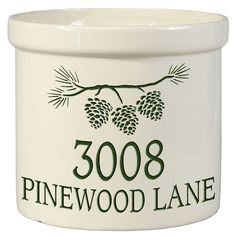 Pine Bough Personalized Crock Version B. Looks great on your front porch. Only  $59.95 factory direct.