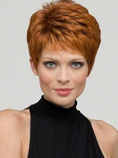 Heather by Envy Wigs : Human Hair Blend   Color LIGHTER RED