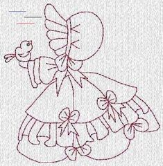 EmbroiderygirlDesigns on Artfire.com - #sunbonnetsue Applique Embroidery Designs, Machine Embroidery Patterns, Quilt Patterns Free, Applique Patterns, Vintage Embroidery, Cross Stitch Embroidery, Hand Embroidery, Sunbonnet Sue, Embroidered Quilts