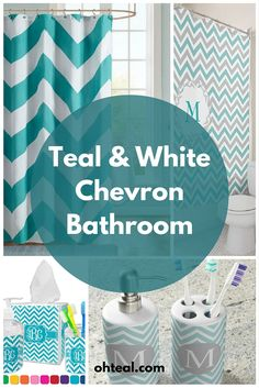Teal and White Chevron Bathroom (Diy Bathroom Themes) Farmhouse Side Table, Farmhouse Kitchen Decor, Chevron Bathroom Decor, Budget Bathroom Remodel, Bathroom Renovations, Home Upgrades, Small Furniture, Decoration, New Homes