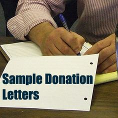 Sample Letter Asking For Donations. This article provides two sample donation letters for you to use to inspire your writing, give you a guideline, and to get you started. Read them by clicking on the image or by following this link:  www.rewarding-fundraising-ideas.com/sample-letters-asking-for-donations.html  (Photo by Bernard Pollack / Flickr)
