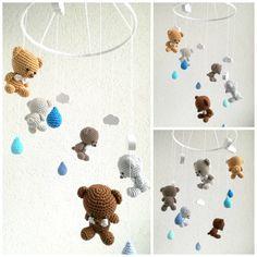 Babymobile gehäkelt mit Bären, Wolken und Tropfen