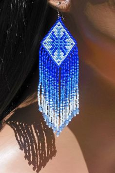 Blue & White Ombre Earrings  Seed Bead and Crystal  Beaded