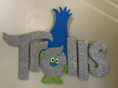 Trolls logo in foam