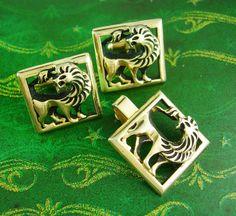 ENGLISH LION Cufflink Vintage Tie Clip Set by NeatstuffAntiques