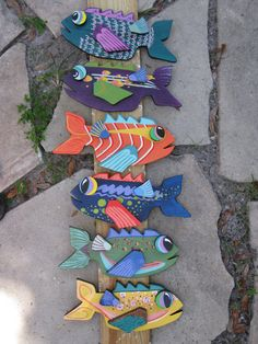 FISH wooden plaque HAND painted made in the USA by mousatplay