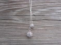 Rhinestone Bead Lariat Necklace. Bridal Jewelry.