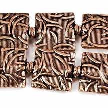 12mm Antiqued Copper Whisp Embossed Square Beads, 8 inch, 15 beads