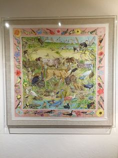 Custom Box frame made for this Hermes la vie sauvage du Texas Scarf by Kermit Oliver. Have a scarf you want framed or displayed?  Call us 214-742-6032 or email Lynn@EDPlastics.com for pricing.