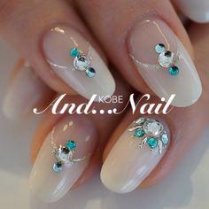 #nailbook nude blue little bling so pretty
