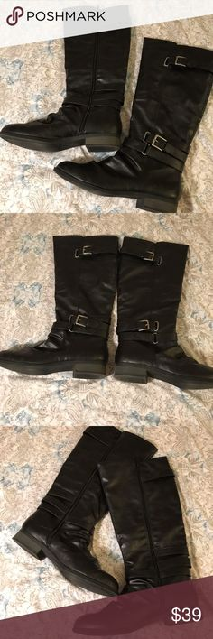 Diba Pewter Grey Buckled Boots Super cute and comfortable Diba boots! Tall shaft boot with a small heel at base and several buckle accents throughout. Full zip on inside of boot. Worn only a few times, in great condition! Diba Shoes Combat & Moto Boots