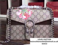 593fb96f0e1 Gucci Dionysus Blooms Print GG Supreme Shoulder Bag 400249 Tan 2015