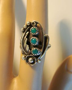 Beautifully Detailed Silver Turquoise Ring 43 by joysshop on Etsy, $45.00