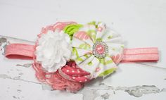 Bring on Spring - headband in lime green, coral pink and white by SoTweetDesigns