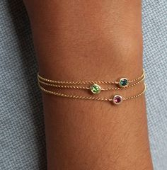 14k gold gemstone bracelets by Vivien Frank Designs