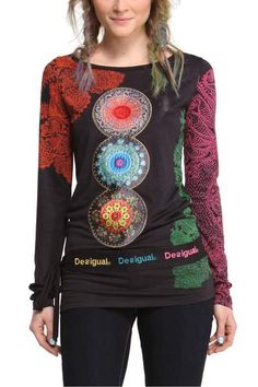 Desigual Women's Lena T-shirt. Our legendary spheres continue to spread joy this season in a T-shirt with a new print that looks set repeat the success it's had in previous seasons.