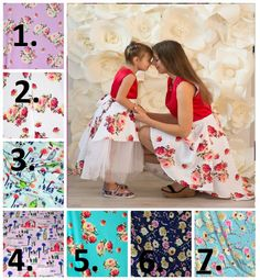 Mother daughter matching dresses with floral print Different