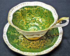 Royal Albert Teacup Green Handpainted Tea Cup and Saucer Duo