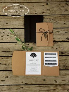 Rustic tree pocket wedding invitation with leaf charm Pocket Wedding Invitations, Wedding Invitation Design, Invites, Wedding Art, Boho Wedding, Wedding Invitation Inspiration, Thank You Cards, Rsvp, Place Cards