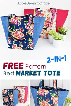See how to make a tote bag using this free tote bag sewing pattern for a great looking market tote bag in 3 sizes. It can be used either as a storage basket or as a market bag. Easy sewing project, and no corner boxing required, due to a specific square bottom construction. Happy #sewing! #freepattern #bagpattern #totebag Easy Sewing Patterns, Bag Patterns To Sew, Easy Sewing Projects, Sewing Projects For Beginners, Sewing Hacks, Sewing Tutorials, Tote Pattern, Tutorial Sewing, Skirt Patterns