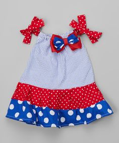 Another great find on #zulily! Caught Ya Lookin' White, Red, & Blue Polka Dot Pillowcase Dress - Infant & Toddler by Caught Ya Lookin' #zulilyfinds