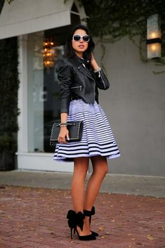 @roressclothes clothing ideas #women fashion black jacket, striped skirt, purse, heels