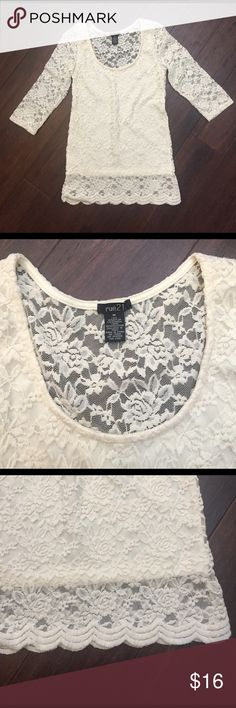 Sale! Lace Top Like New. I'm pretty sure I've never worn it. Fourth picture shows the back. Back side is all see thru lace. Rue21 Tops Blouses