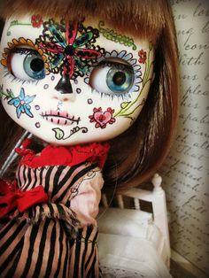 OOAK Custom Blythe-LIke Jecci Doll - Natalie - Hand-Painted Calavera, Sugar Skull, Day of the Dead Style Art Doll Sad Clown Girl