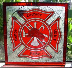 All wrapped up in one. Firefighter Family, Firefighter Paramedic, Firefighter Decor, Volunteer Firefighter, Firefighters Wife, Firemen, Firefighter Cakes, Stained Glass Projects, Stained Glass Patterns