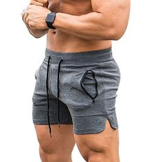 EVERWORTH Men's Solid Gym Workout Shorts Bodybuilding Running Fitted Training Jogging Short Pants with Zipper Pocket 3 Colors Gym Outfit Men, Bodybuilding Clothing, Estilo Fitness, Mens Clothing Styles, Workout Shorts, Mens Fitness, Gym Men, Men Dress, Sexy Men