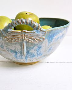 serving bowl Dragonfly Bowl Art Deco Arts and by OneClayBead
