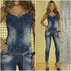 HighQuality Women s Gem Jumpsuits Sexy long zipper Coktail Overrals Blue Jeans  | eBay
