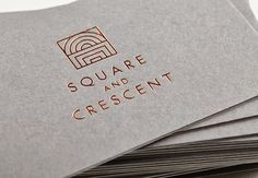 Logo and business cards for Square & Crescent designed by Touch. Stamped Business Cards, Foil Business Cards, Square Business Cards, Print Design, Web Design, Logo Design, Design Layouts, Brochure Design, Design Art