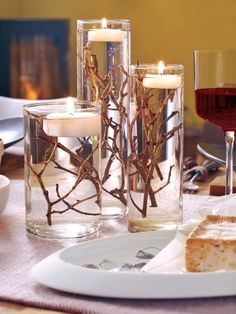DIY Table decoration wedding floating candles branches cylinder vases Shopping For The Right Mattres Floating Candles Wedding, Diy Candles, Wedding Centerpieces, Wedding Decorations, Winter Centerpieces, Table Centerpieces, Candle Decorations, Wedding Tables, Birthday Decorations