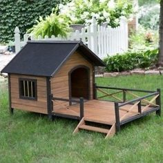 Provide your pooch with a posh Dog House Lodge with a Porch. A large interior for your furry friend to stretch out in all the while they are being protected from the elements. The Sun Deck gives them somewhere to warm themselves and to keep them off the damp grass. Constructed of Solid Fir Wood and trimmed out in dark accents, it also has a small window for ventilation when the sun gets a little to warm. It will make a stylish addition to your yard over the traditional Dog Shelter House.