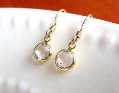 Sparkly Clear Swarovski Crystal Earrings by Yameyu, $21.00 https://www.etsy.com/listing/105107644/clear-swarovski-crystal-earrings-gold