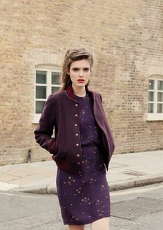 plum varsity jacket,too good