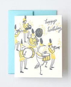 Animal Parade Letterpress Greeting Card designed by Julia Rothman for Hello!Lucky