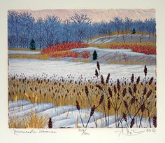 Minnesota Sumac by Gordon Louis Mortensen, reduction woodcut