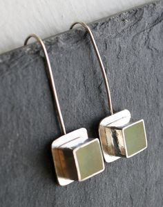 This would be such a great look for any number of shapes, or elements. Apple Green Resin Earrings