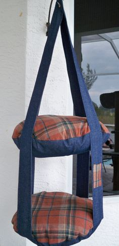 Country Charm Plaid & Denim Double Hanging Cat Bed by 7CatsHeaven, $65.00