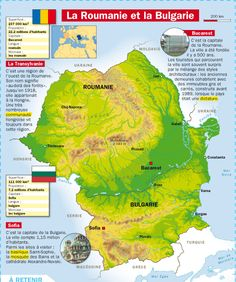 Fiche exposés : La Roumanie et la Bulgarie Study French, Learn French, Geography Map, Reading Practice, French Lessons, Travel Maps, Historical Maps, French Language, Fun Learning