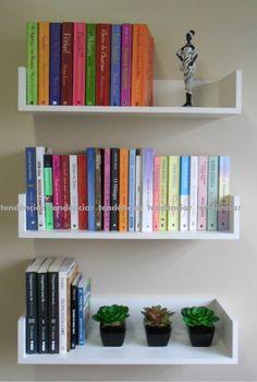 Like these shelves Bookshelves In Bedroom, Small Bookshelf, Creative Bookshelves, Book Shelves, Ideas For Bookshelves, Diy Bookshelf Wall, Minimalist Bookshelves, Ikea Wall Shelves, Bookshelf Decorating