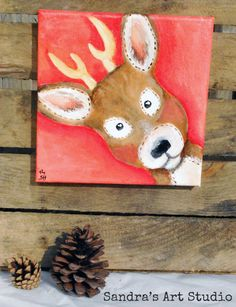 Kids art DEER with PINK  Acrylic painting on by SandraArtStudio