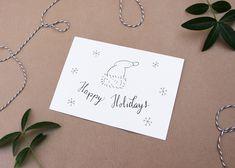 kerstman hoed, knusse kerst, schattige kerst kaart, kerst wensen, tekening kerst, feestdagen kaart, wenskaarten kerst, wensen kaart kerst door JolisMots op Etsy